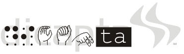 The word Dicapta with 2 letters in braille, 3 more in sign language, and last 2 in white over black background.
