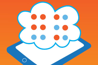 "A cloud with Braille characters floats over a smartphone. Underneath ""GoCC4All"""