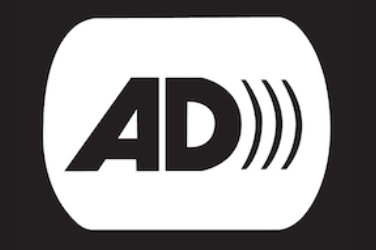 "Letters ""AD"" that represent audio description symbol"
