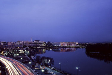 Landscape at sundown. View of Potomac river. The Kennedy Center stands next to the river