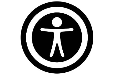 Symbol of accessibility on websites. Silhouette of a person  with open arms inside a circle.