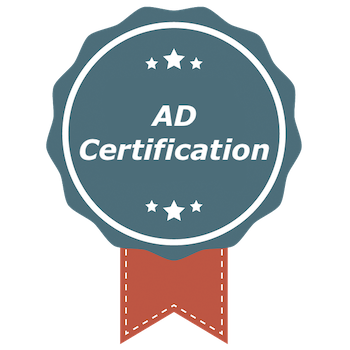 "A round blue badge with the phrase ""AD Certification.""  An orange ribbon hangs from the badge"
