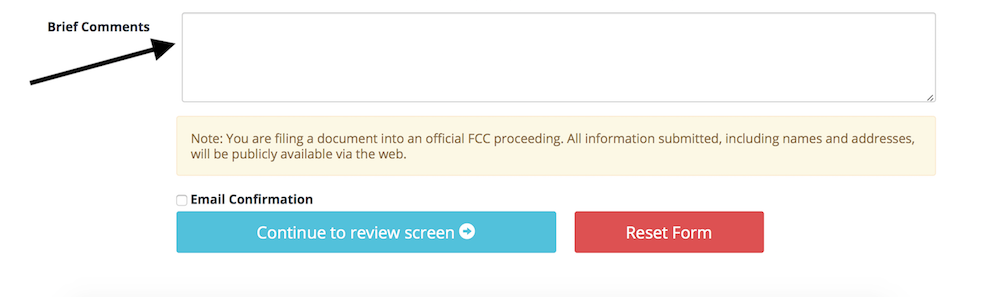 Form showing a field to enter comments and a button to continue to review comments