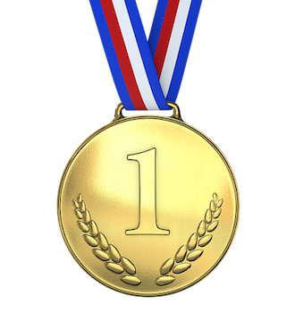 Gold medal with a number 1 in relief