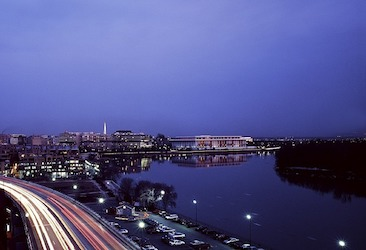 Landscape at sundown. View of Potomac river. The Kennedy Center stands next to the river.