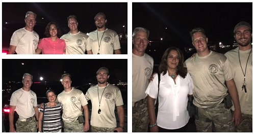 3-pictures collage: Outdoors at night, 3 members of the SWAT team pose smiling with a lady in each  pictures. The ladies are Juliana Olarte, Amanda Cadena and María Diaz-our CEO.